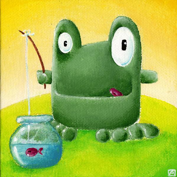 Tableau la grenouille pêche