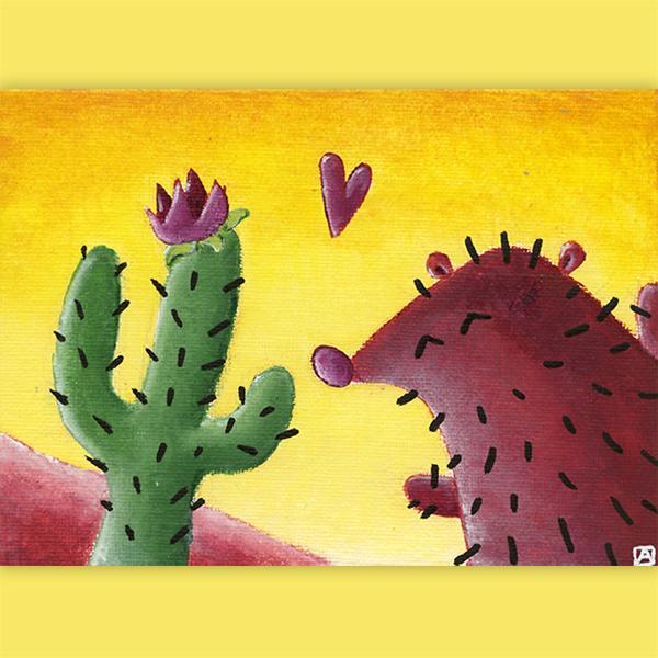 tableau hérisson amoureux d'un cactus