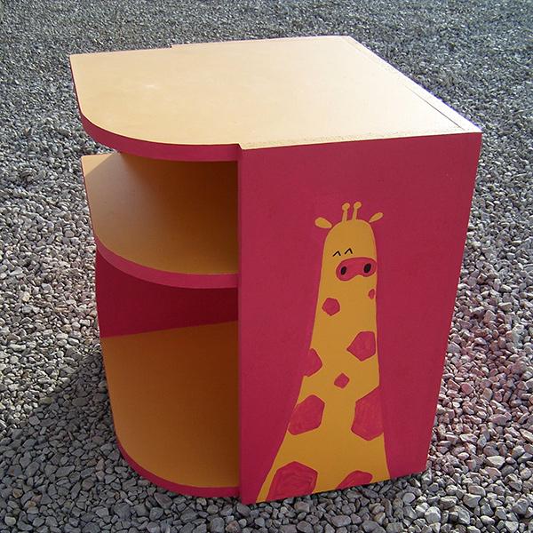 table de chevet enfant girafe fushia et jaune