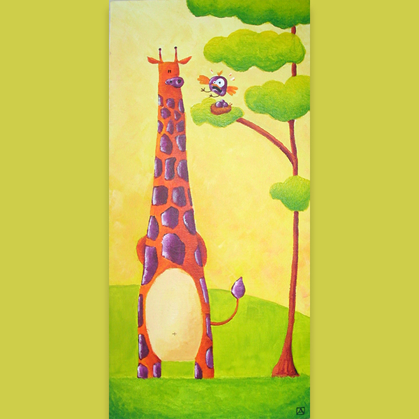 tableau girafe plus haute que les oiseaux