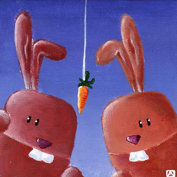 Tableau lapins et la technique de la carotte