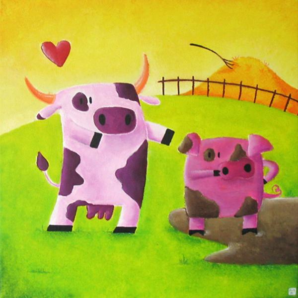 tableau vache sous le charme d'un cochon