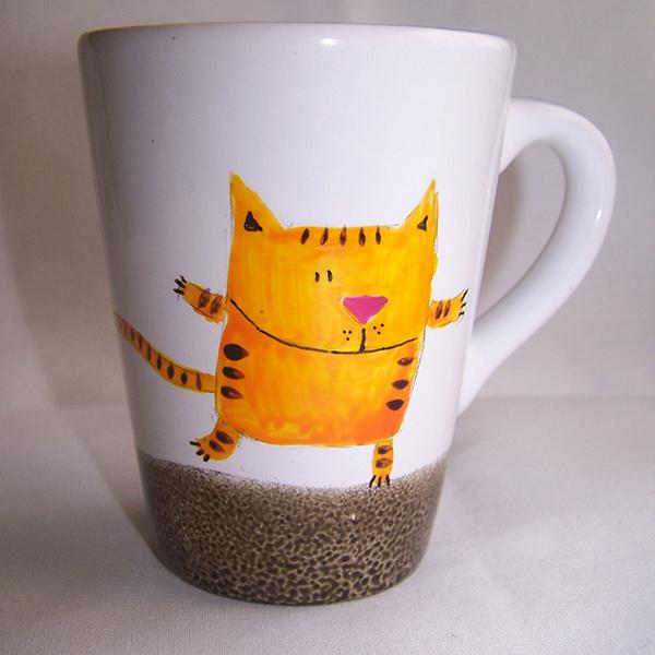 mug chat orange