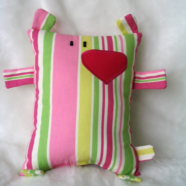 doudou ours rayé fluo