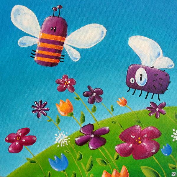Tableau les insectes dans un champs fleuri