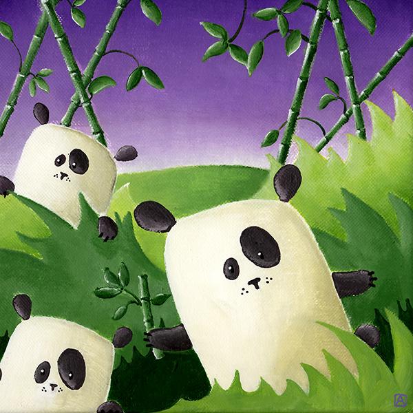 Tableau les pandas au milieu des bambous