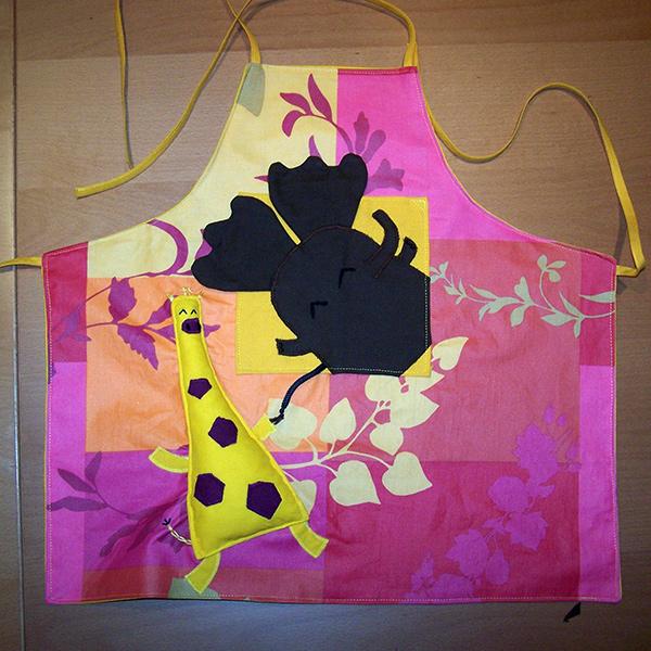 tablier toile cirée éléphant et girafe